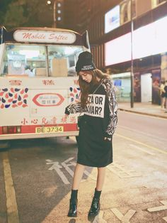 Printed Long Pullover, Black , One Size - QZ Lady | YESSTYLE