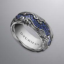 David Yurman Men's Waves Band Ring, Sapphires, 10.5mm