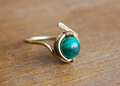 Malachite  Gemstone Ring in 14kt Rolled Gold  Size 5 to 15  Wire Wrapped