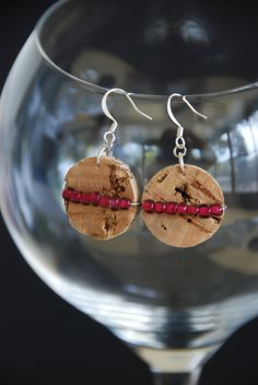 Pink Beaded Cork Earrings by GulfCoasters on Etsy