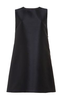 Navy Silk Wool A-Line Back Zipper Dress by Harvey Faircloth Now Available on Moda Operandi