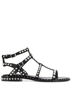 Black and silver-tone leather Precious studded sandals from Ash featuring an open toe, silver-tone stud detailing, an ankle strap with a side buckle fastening, a strappy design, a branded insole and a flat heel. Leather Gladiator Sandals, Studded Sandals, Black Sandals, Cool Skin Tone, Colors For Skin Tone, High Fashion Trends, Natural Lip Colors, Studded Leather, Designer Shoes