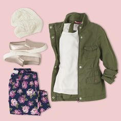 Big Girl Back To School Outfit | Knit beanie, military jacket, solid top, floral jeggings and metallic sneakers | When it comes to back to school style, she's not fooling around. Visit our PLACE for the latest in greatest in kids' fashion.