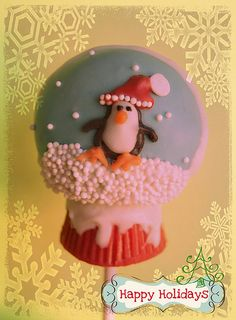 happy holidays snow globe cake pop