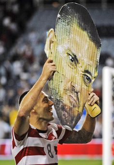 Clint Dempsey shows his giant head after USA 3-1 win over Guatemala.