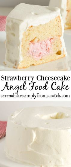 A hollowed out Angel Food Cake is stuffed with Strawberry Cheesecake filling for the ultimate dessert! www.serenabakessimplyfromscratch.com