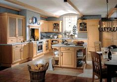 Paint color! Beacon Hill Maple kitchen cabinets with light-colored granite