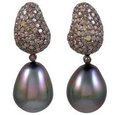 champagne diamond jewelry   Champagne Diamond Tahitian Pearl Earrings at 1stdibs