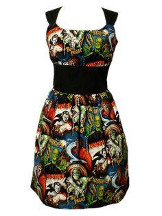 "Women's ""Riding Shotgun Hollywood Monsters"" Pin-up Dress by Hemet"