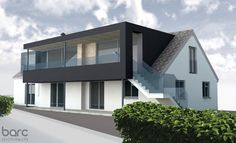 Horizons designed by Barc Architects in Exeter, Devon. The project aims to add a first floor contemporary dormer extension and balcony to the existing bungalow, with the addition of a deck area aiding the transition between inside and out. Bungalow Extensions, House Extensions, Home Exterior Makeover, Exterior Remodel, House Extension Design, House Design, Bungalows, Style At Home, Bungalow Conversion