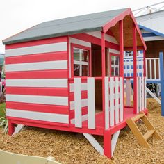 A seaside themed decorated Walton's Playhouse! Red, white and fun!
