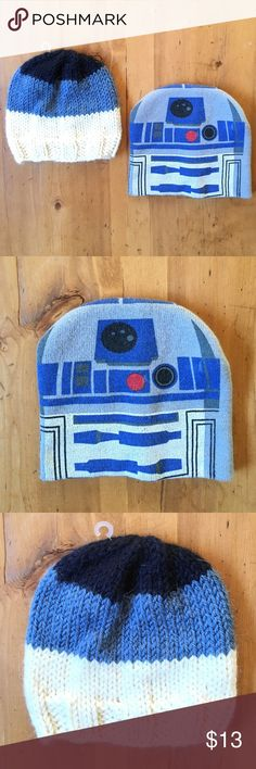 Kids Bundle Two Knit Hats One Star Wars 9in x 9in and one 8 in x 8in like new Accessories Hats