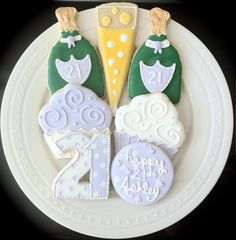 Champagne Birthday Decorated Cookies by peapods cookies