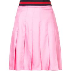 Gucci Web belt pleated skirt ($1,400) ❤ liked on Polyvore featuring skirts, silk a line skirt, pink skirt, pleated a line skirt, a-line skirt and sport skirts