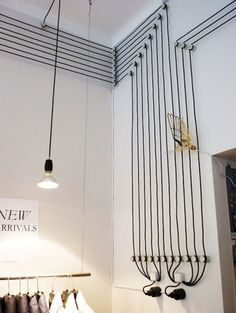 Wires and Cords as Interior Decorating Ideas. Tricky decoration in the loft style of the white area