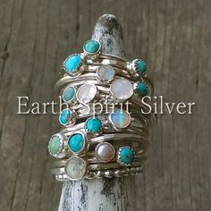 www.earthspiritsilver.com - turquoise rings, turquoise stacker rings, stackable rings, turquoise, turquoise over diamonds, silversmith, handforged jewelry, make silver rings, handmade jewelry, blue turquoise, green turquoise, kingman turquoise, sleeping beauty turquoise, moonstone ring, daylight ring, shifter ring, silver bezel, sterling silver ring, hammered ring, texturing silver, rustic, boho jewelry, gypsy