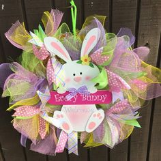 Deco mesh Easter bunny welcome wreathThis three features bright spring colors in a durable wooden white rabbit hanging from a sign that says welcome Bright Spring, Spring Colors, Welcome Wreath, Deco Mesh, Easter Bunny, Rabbit, Wreaths, Sign, Christmas Ornaments