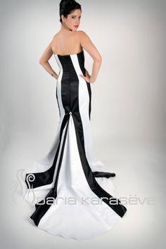 Black and White Strapless Mermaid Gown Dress by DariaKaraseva, $350.00