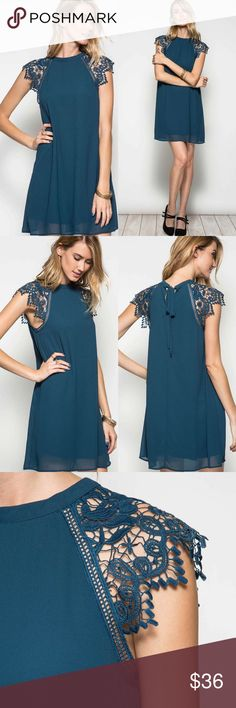 ✨NEW✨ Lace Cap Sleeve Shift Dress with Self Tie Lace cap sleeve silk blend shift dress with keyhole tie back in self band, and full lining. Size-S,M & L. Color-Teal. 70%Silk/30%Polyester. Length-35-35 1/2-36. Bust-37-38-39 Classic Paper Doll Dresses Mini