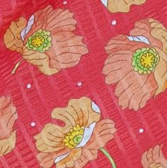 Coral Cotton Vintage Sewing Fabric Mint Pique Lightweight Brilliant Coral at Toinette's