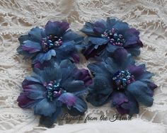 Silk Fabric Flowers Dark Blue Purple with by LayoutsFromTheHeart, $2.98