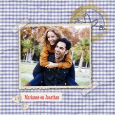 Vintage fototrouwkaart met fotoframe op stoffen ruitjes achtergrond. Deze trouwkaart kun je zelf maken.