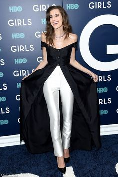 Making an entrance:Allison Williams stunned in black and white on the arrivals carpet at ...