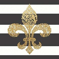 Fleur de Lis Stripes created by Moulton, Jo - Fine Art print on canvas stretched Gallery wrap style on sturdy 16 x 16 Inch poplar wood Frame - READY TO HANG