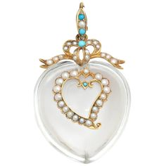 Victorian Pure Rock Crystal Natural Pearl Turquoise Double Heart Pendant  | From a unique collection of vintage drop necklaces at http://www.1stdibs.com/jewelry/necklaces/drop-necklaces/
