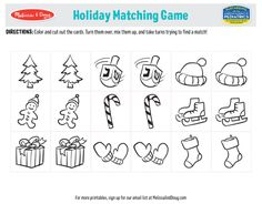 3 Free Printables to Give Kids and Adults a Fun Holiday Challenge | Melissa & Doug Blog Summer Scenes, Find A Match, Melissa & Doug, Matching Games, Kids Christmas, Holiday Fun, Free Printables, Coloring Pages, Challenge