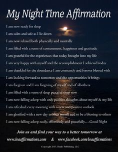 "Clear and refresh your mind every night before you sleep with these powerful ""I Am"" nighttime affirmations. For more downloadable audio affirmations go to www.loaaffirmations.com Come join us at www.facebook.com/loaaffirmations now with over 13,000 in our community"