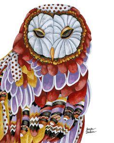 8x10 Art Print Owl Aura White Background by TheOpulentNest on Etsy, $18.00