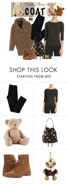 """""""Teddy Bear Coat"""" by dogzprinted ❤ liked on Polyvore featuring Jellycat, J Brand, Three Dots, Moschino, Steve Madden, Burberry and teddybearcoat"""