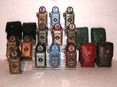 bakelite coronet midget cameras....great colors...
