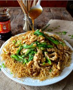 Pan-fried Noodles with Chicken  Baby Bok-choi (gai-see-chow-mein, 鸡丝炒面)#panfried #noodle