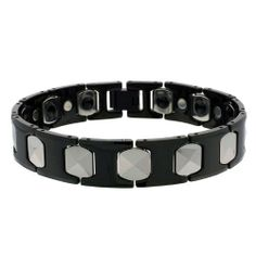 13MM Tungsten Carbide Bracelet Two Tone H & Cushion Shaped Link Magnetic Bracelet 8 Inches Double Accent. $52.99. Save 65%!