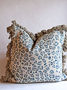 "Aubusson pillow in a leopard pattern with fringe. Down insert.22"" x 22""12 weeks availabilityNOTE: 18"" x18"" - 550; 21""x21""- 570"
