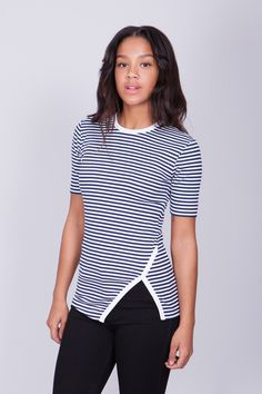Wrap T-shirt Blue Striped︱SS15 by Swedish brand BACK︱See more at www.grandpa.se
