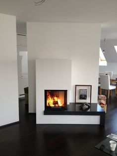 Wall Mounted Fireplace, Home Fireplace, Modern Fireplace, Fireplace Design, Living Tv, Living Area, Living Room, Manhattan Penthouse, Stove Heater