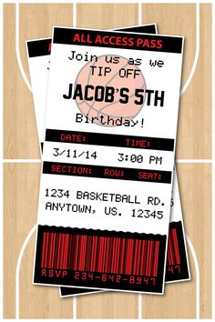 Basketball Birthday Party Invitation or Thank you card - Customized with your own wording Miami Heat - Any Team Available! Basketball Birthday Parties, 10th Birthday Parties, Birthday Fun, Birthday Party Themes, Birthday Ideas, Kylie Birthday, Pink Invitations, Birthday Party Invitations, Invitation Cards