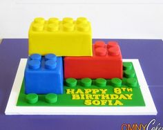 some Lego cakes for the birthday party Happy 8th Birthday, Lego Birthday Party, 4th Birthday Parties, Boy Birthday, Cake Birthday, Birthday Ideas, Lego Parties, Giant Lego Blocks, Bolo Lego