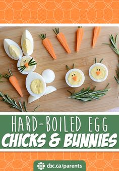 Adorable, edible chicks and bunnies are a great way to use up decorated Easter eggs.