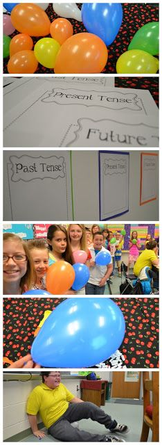Verb Balloon Pop – Students pop balloons that contain paper slips with verbs that must be taped onto the correct tense; could also be done with subject pronouns or verb endings. This could be a race or just for fun. Teaching Verbs, Teaching Language Arts, Classroom Language, Language Activities, Teaching Writing, Classroom Games, Learning Activities, Teaching Ideas, Classroom Ideas