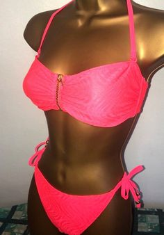 b6f30af6980fb SEXY LADIES GEORGE PINK PADDED HALTERNECK ZIP FRONT BIKINI SET SIZE 10 12   fashion  clothing  shoes  accessories  womensclothing  swimwear (ebay link)