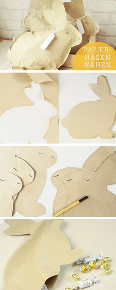 Oster-DIY: Aus Papier niedliche Osterhasen nähen, Osterdeko / diy sewing tutoral for easter bunnys… - Cute Easter Bunny, Hoppy Easter, Spring Crafts, Holiday Crafts, Diy For Kids, Crafts For Kids, Diy Osterschmuck, Diy Ostern, Diy Easter Decorations