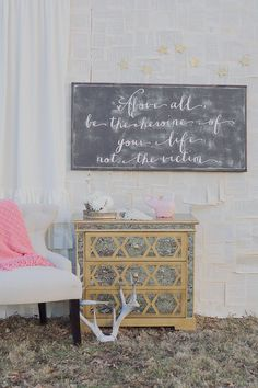 """Love the layered book pages and the tiny cream colored stars {garland} above Heroine sign! ... """"Be the Heroine"""" Sign ~ by The House of Belonging {etsy}"""