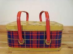 Vintage Metal Tin Red Blue Plaid Picnic Basket Lunch Pail Box Skotch | eBay