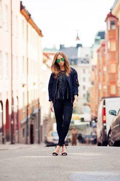 Filippa K Bomber Jacket, Zara Top, Rodebjer Pants, Zara Shoes, Ray Ban Sunglasses
