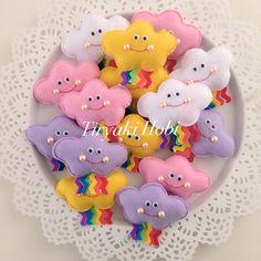 ♥ Tiryaki Hobi ♥: Keçe bebek şekeri / doğumgünü magneti - Bulut (HANDE)