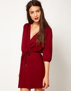berry wrap jersey dress. perfect color for fall!